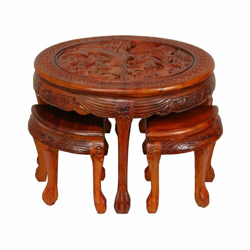 Carved Circular Coffee Table with Stool