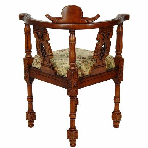 Oriental Furniture Queen Anne Corner Fabric Arm Chair