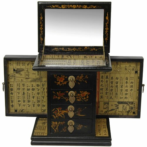Oriental Furniture Large Standing Mirror Jewelry Box