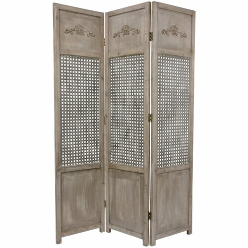 "Oriental Furniture 71.5"" x 50.25"" Open Mesh 3 Panel Room Divider"