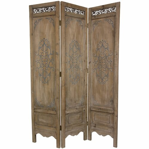 "Oriental Furniture 72"" x 51"" Antique Chest Design 3 Panel Room Divider"