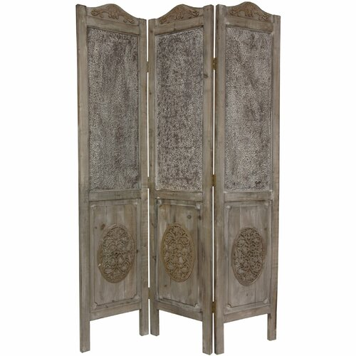 "Oriental Furniture 74.5"" x 49.5"" Closed Mesh Antique Design 3 Panel Room Divider"