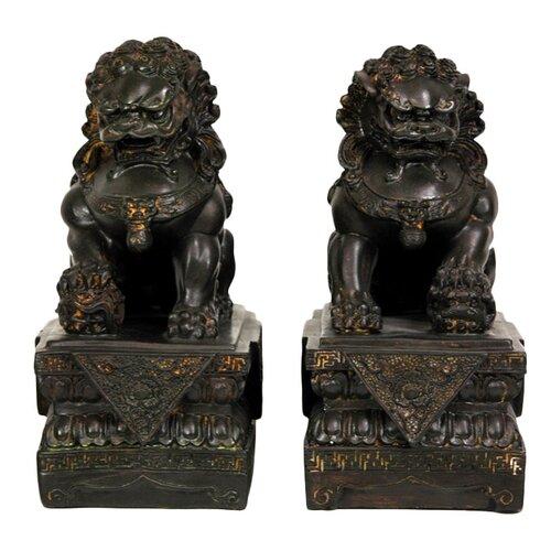 Oriental Furniture 2 Piece Foo Dog Figurine Set