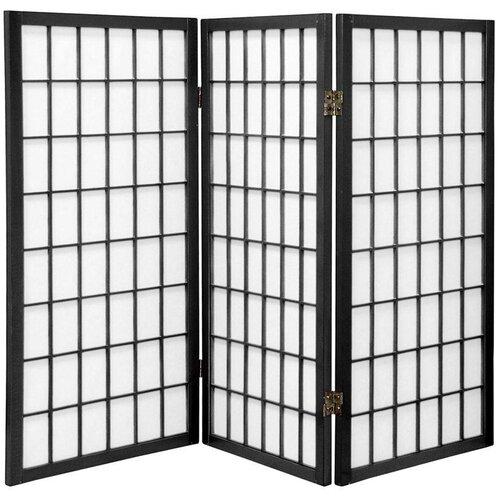 "Oriental Furniture 60"" x 42"" Window Pane Shoji 3 Panel Room Divider"