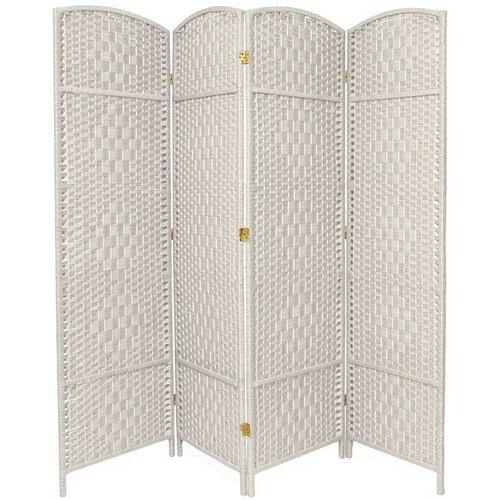 "Oriental Furniture 71"" x 64"" Diamond Weave 4 Panel Room Divider"