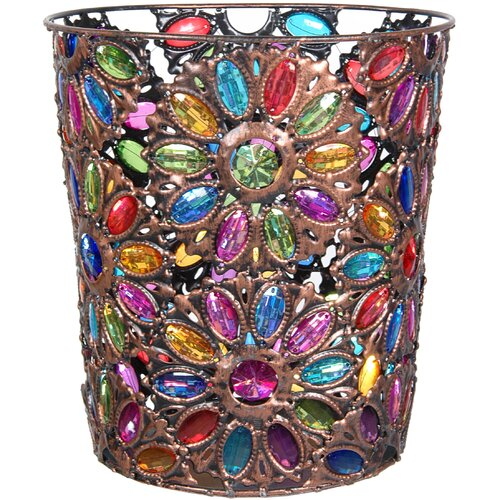 Bejeweled Flower Waste Basket