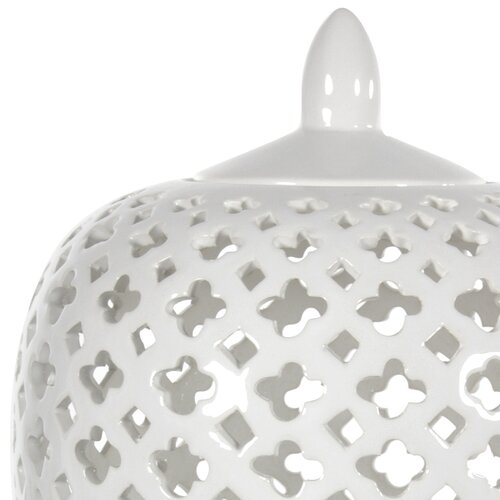 Oriental Furniture Carved Lattice Decorative Jar