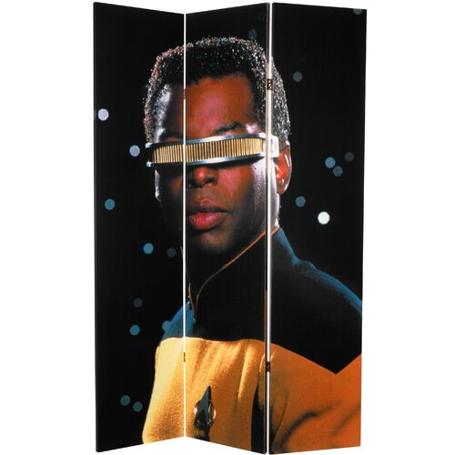 """Oriental Furniture 71"""" x 47.25"""" Star Trek Tall Double Sided Data and LaForge 3 Panel Room Divider"""