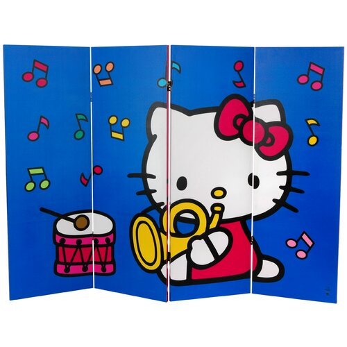 """Oriental Furniture 48"""" x 63"""" Tall Double Sided Hello Kitty Birthday Cake 4 Panel Room Divider"""