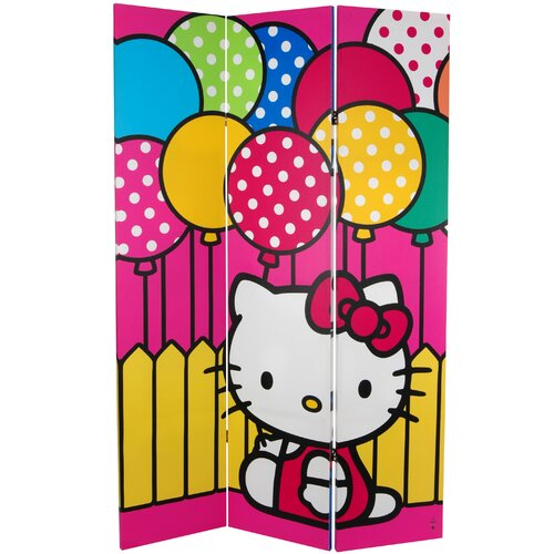 """Oriental Furniture 71"""" x 47.25"""" Tall Double Sided Hello Kitty Sailor 3 Panel Room Divider"""