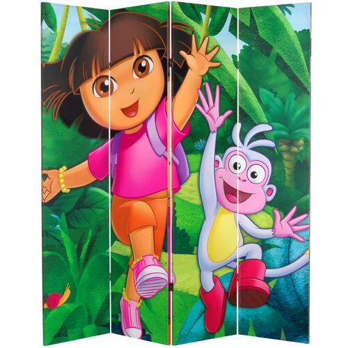 """Oriental Furniture 71"""" x 63"""" Tall Double Sided Dora the Explorer 4 Panel Room Divider"""