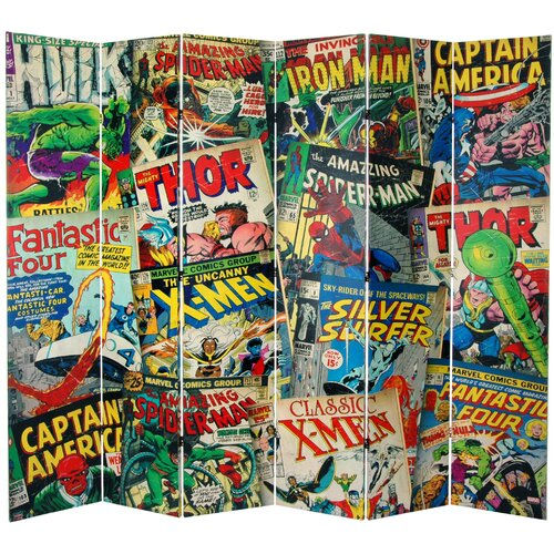 "Oriental Furniture 84"" x 102"" Tall Double Sided Marvel Comic Book Covers 6 Panel Room Divider"