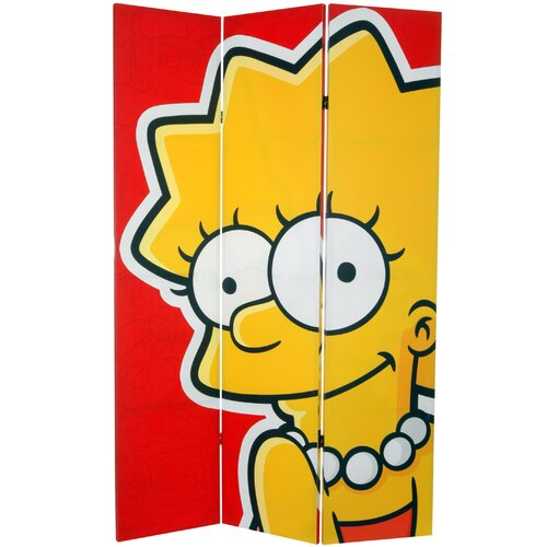 """Oriental Furniture 71"""" x 47.25"""" Tall Double Sided Bart and Lisa 3 Panel Room Divider"""