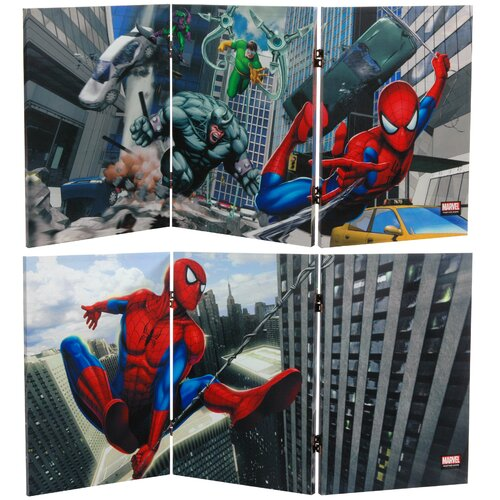 """Oriental Furniture 23.75"""" x 47.25"""" Tall Double Sided Friendly Neighborhood Spider Man 3 Panel Room Divider"""