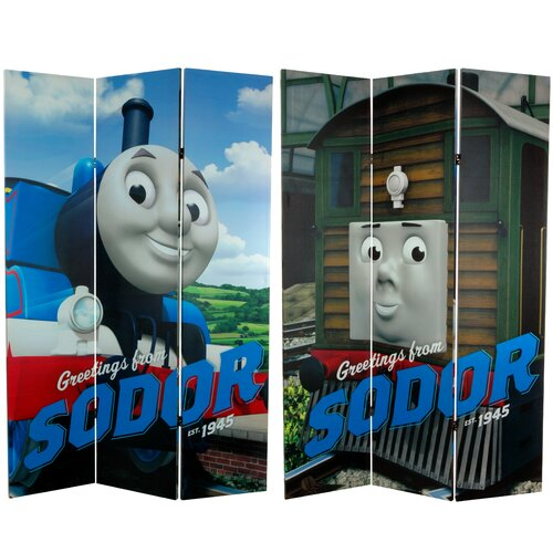 "Oriental Furniture 71"" x 47.25"" Tall Double Sided Thomas Greetings from Sodor 3 Panel Room Divider"