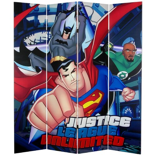 "Oriental Furniture 71"" x 63"" Tall Double Sided Justice League Unlimited 4 Panel Room Divider"
