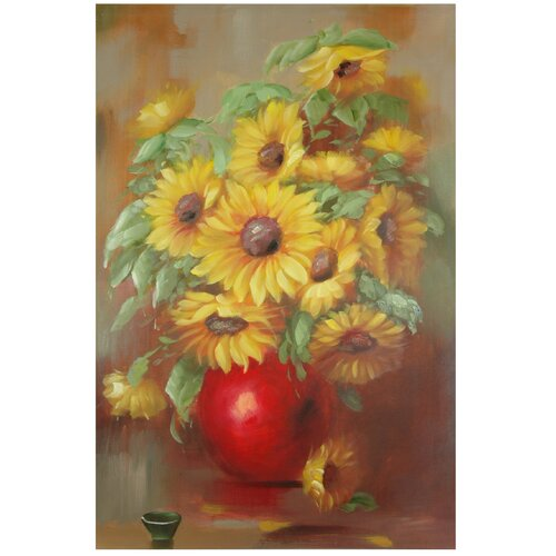 Oriental Furniture Hand Painted Sunflowers Original Painting on Canvas