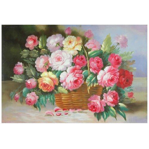 Oriental Furniture Hand Painted Basket of Peonies Original Painting on Canvas