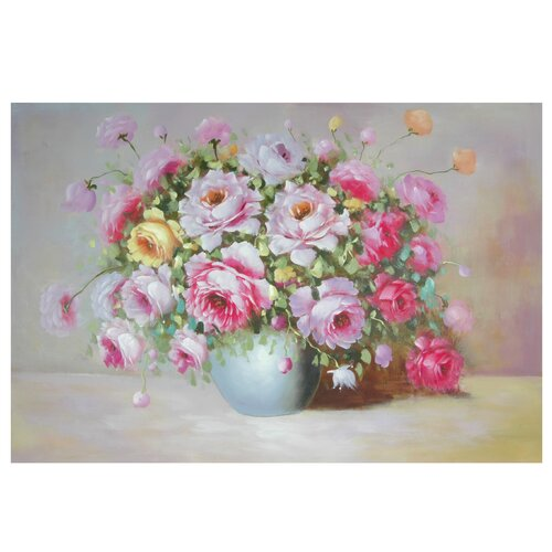 Oriental Furniture Hand Painted Peonies on Display Original Painting on Canvas