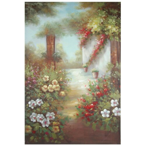 Oriental Furniture Hand Painted Path through the Flowers Original Painting on Canvas