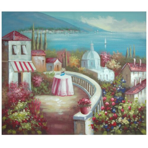 Hand Painted Riviera Cafe for Two Original Painting on Canvas