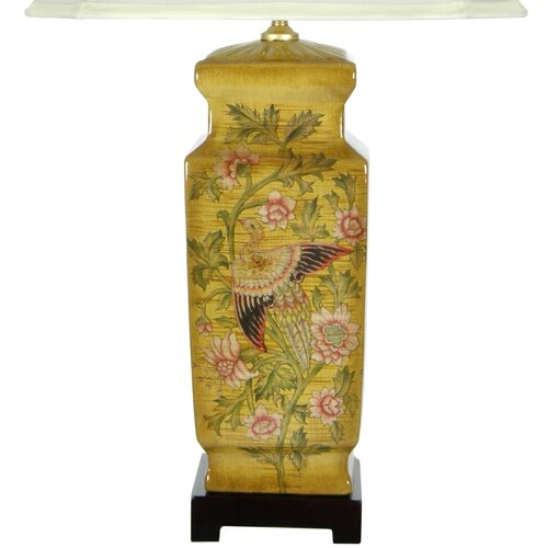 Oriental Furniture Birds and Flowers Table Lamp