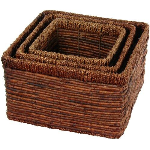 Oriental Furniture Hand Woven High Basket Tray