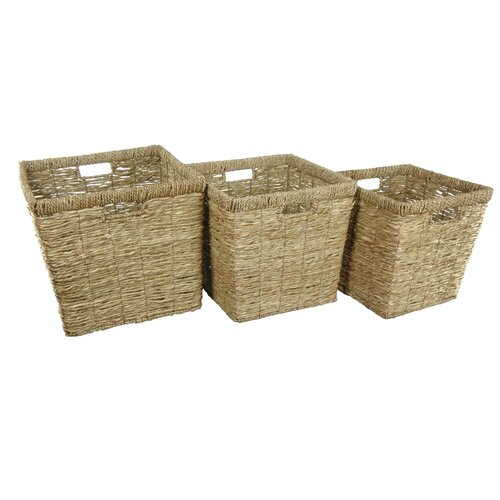 Oriental Furniture Hand Woven Rush Grass Basket Bin