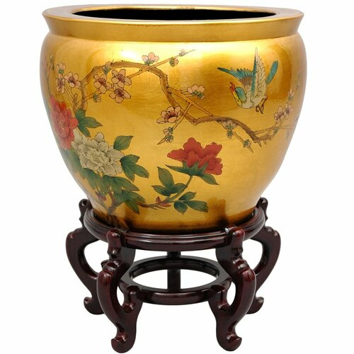 Oriental Furniture Birds and Flowers Leaf  Vase