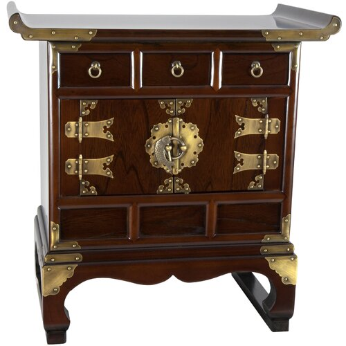 Korean 3 Drawer End Table Cabinet