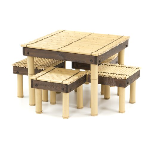 Zen Bamboo Coffee Table with Four Stools