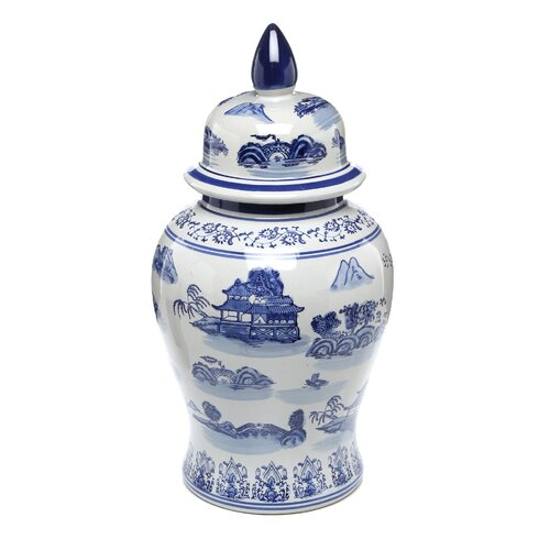 Oriental Furniture Landscape Temple Decorative Urn