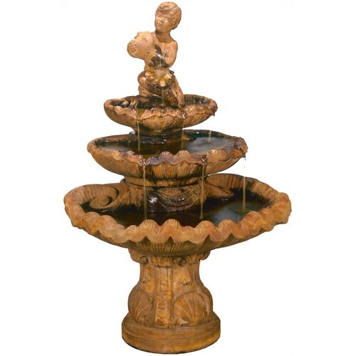 Henri Studio Figurine Cast Stone Shellboy Three-Tiered Fountain