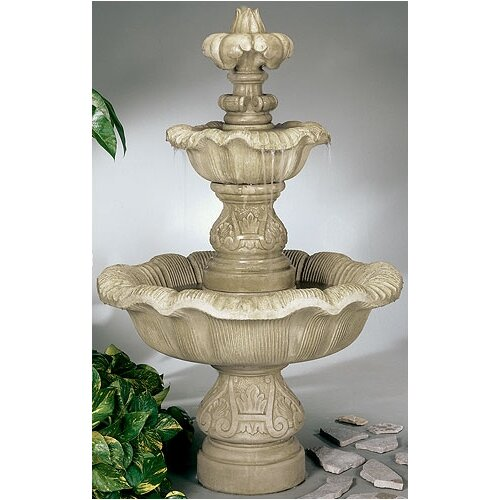 Two-Tier Cast Stone Renaissance Waterfall Fountain