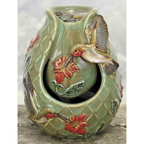 Porcelain Hummingbird Water Fountain