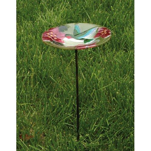 Evergreen Enterprises, Inc Bird Bath Stake HumBird in Glass