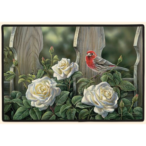 House Finch and Roses Doormat