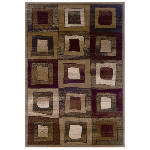 LR Resources Adana Brown Checked Rug