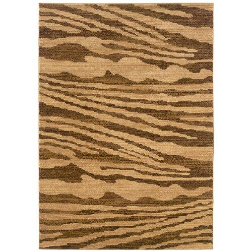 LR Resources Opulence Cream/Light Brown Woodgrain Inspired Rug