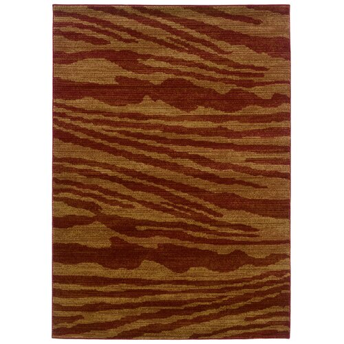 LR Resources Opulence Cherry/Dark Yellow Woodgrain Inspired Rug