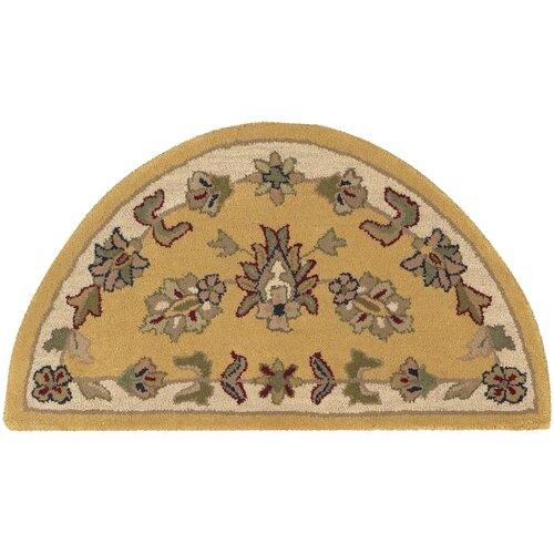 LR Resources Shapes Gold/Ivory Border and Traditional Floral Rug