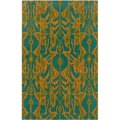 LR Resources Vibrance Blue Flower Rug