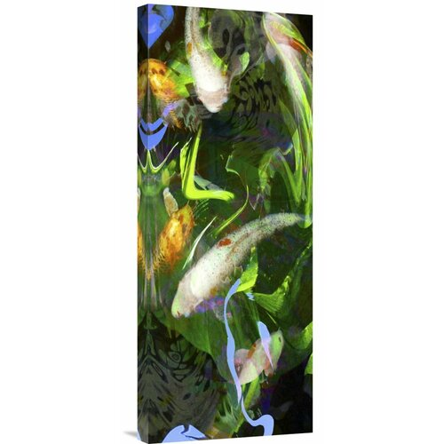 Rainbow koi scroll by suzanne silk painting print on for Rainbow koi fish