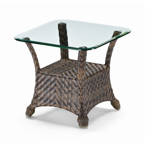 Telescope Casual Square Glass Top Wicker End Table