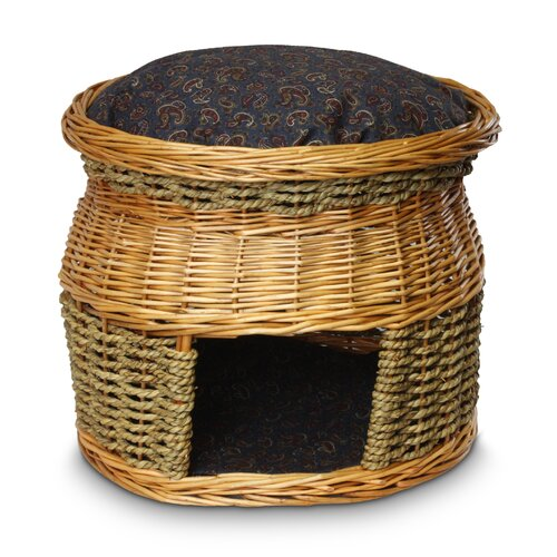 Wicker Double Decker Paisley Print Cat Basket and Bed