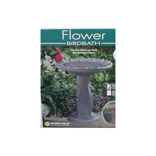 Akro Mils Flower Bird Bath-Black Granite Bird Bath