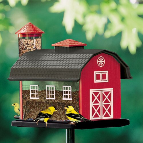 Artline Red Barn Combo Decorative Hopper Bird Feeder