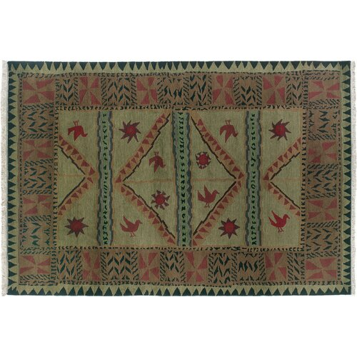 Wildon Home ® Sundial Olive Tribal Rug