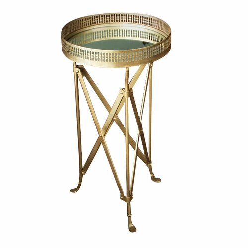 Wildon Home ® Iron and Glass Accordion End Table