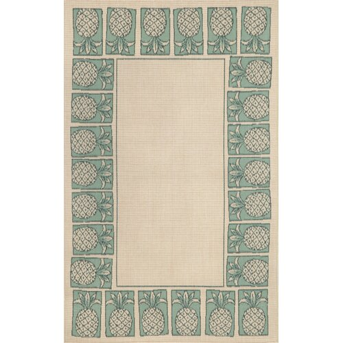 Terrace Aqua Pineapple Stamp Indoor/Outdoor Rug